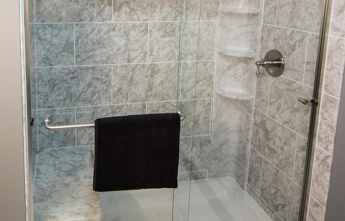 Tile shower closeup
