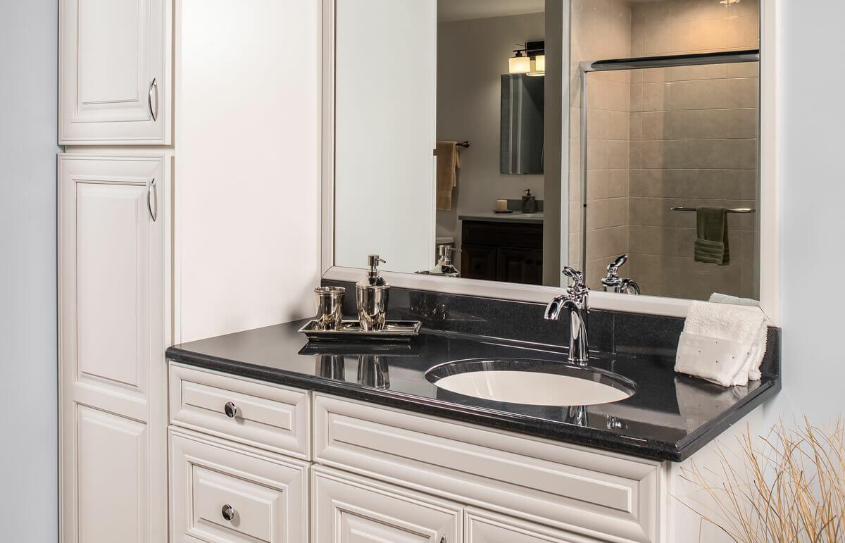 Black marble vanity